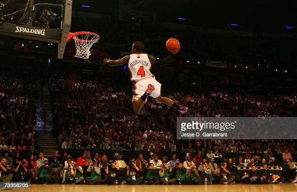Nate Robinson of the New York Knicks dunks during Sprite Slam Dunk Competition at NBA AllStar Weekend on February 17 2007 at Thomas Mack Center in...