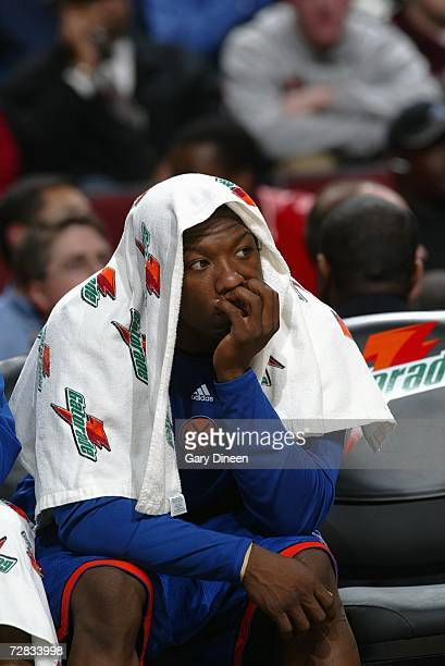 Nate Robinson of the New York Knicks sits on the bench against the Chicago Bulls on November 28 2006 at the United Center in Chicago Illinois The...