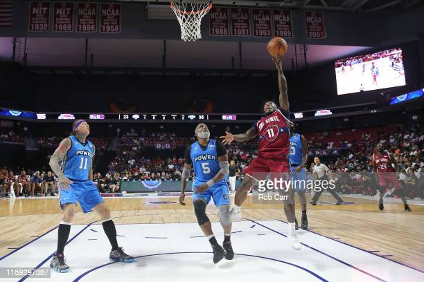 Nate Robinson of the Tri State shoots against Cuttino Mobley of the Power during week two of the BIG3 three on three basketball league at at the...