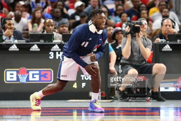Nate Robinson of Tri State cheers on his team during a game between the 3Headed Monsters and Tri State during BIG3 Week Four on July 13 2018 at...