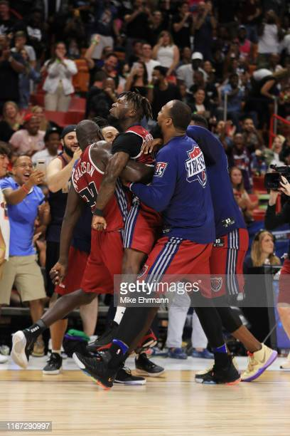 Nate Robinson of Tri-State celebrates with teammates after hitting a three pointer to win the game against the Power during week eight of the BIG3...