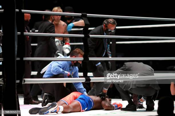 Nate Robinson suffers a knockout against Jake Paul in the second round during Mike Tyson vs Roy Jones Jr. Presented by Triller at Staples Center on...