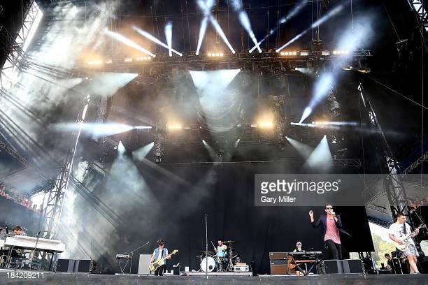 Nate Ruess and jack Antonoff of Fun. Perform during the first day of week two of the Austin City Limits Music Festival at Zilker Park on October 11,...