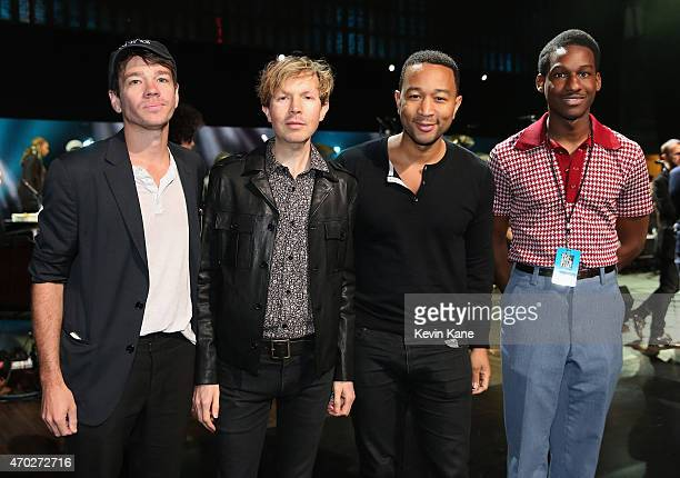 Nate Ruess Beck John Legend and Leon Bridges attend the 30th Annual Rock And Roll Hall Of Fame Induction Ceremony at Public Hall on April 18 2015 in...