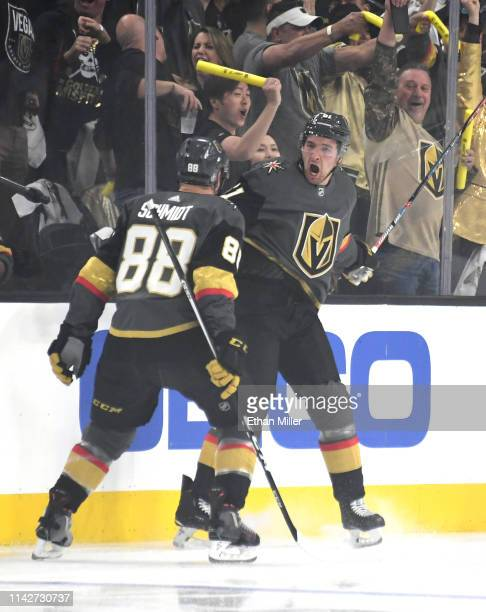 Nate Schmidt and Mark Stone of the Vegas Golden Knights celebrate after Schmidt assisted on Stone's firstperiod goal against the San Jose Sharks in...