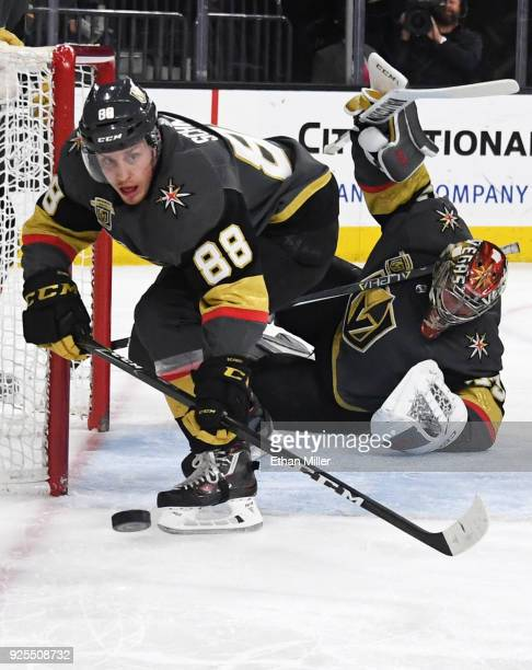 Nate Schmidt and Maxime Lagace of the Vegas Golden Knights defend the net in the first period of their game against the Los Angeles Kings at TMobile...