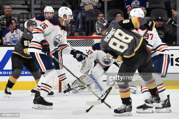 Nate Schmidt assists on the goal scored by his Vegas Golden Knights teammate Jonathan Marchessault with Darnell Nurse Cam Talbot and Connor McDavid...