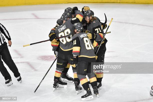 Nate Schmidt celebrates his goal with teammates Shea Theodore Jonathan Marchessault and William Karlsson of the Vegas Golden Knights against the...