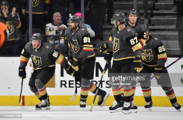 Nate Schmidt of the Vegas Golden Knights celebrates with teammates after scoring a goal during the second period against the Arizona Coyotes at...