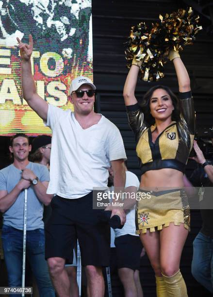 Nate Schmidt of the Vegas Golden Knights gestures to to the crowd as he is introduced at the team's Stick Salute to Vegas and Our Fans event as a...