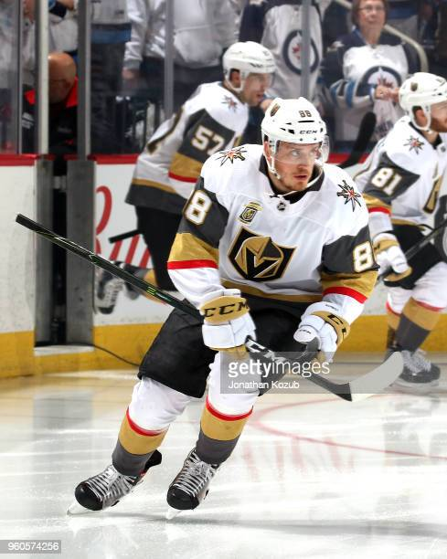 Nate Schmidt of the Vegas Golden Knights hits the ice prior to puck drop against the Winnipeg Jets in Game Five of the Western Conference Final...