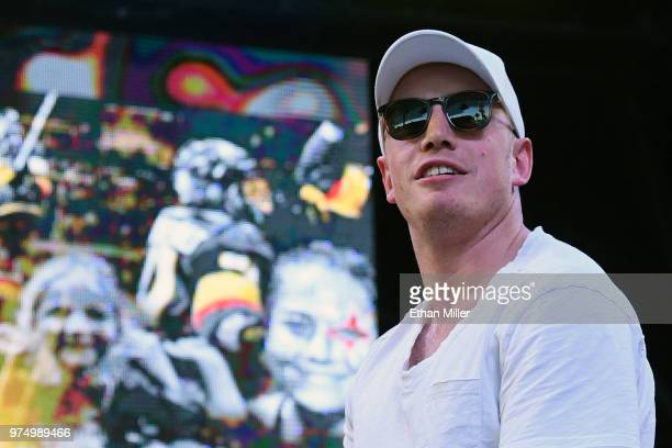 Nate Schmidt of the Vegas Golden Knights is introduced at the team's 'Stick Salute to Vegas and Our Fans' event at the Fremont Street Experience on...