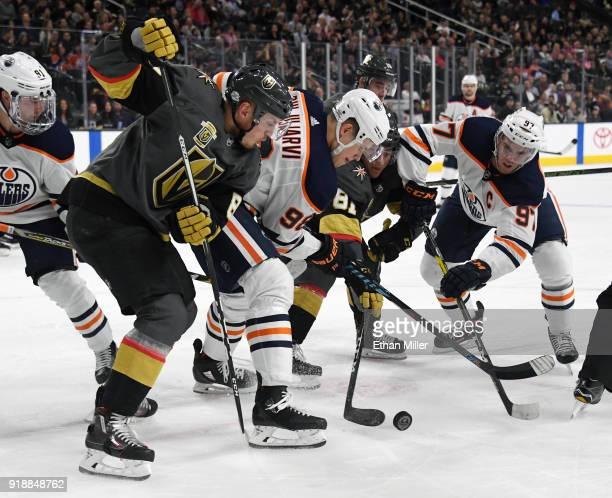Nate Schmidt of the Vegas Golden Knights Jesse Puljujarvi of the Edmonton Oilers Jonathan Marchessault of the Golden Knights and Connor McDavid of...