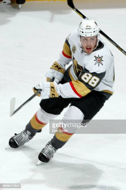Nate Schmidt of the Vegas Golden Knights looks in Game Six of the Western Conference Second Round against the San Jose Sharks during the 2018 NHL...