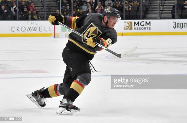 Nate Schmidt of the Vegas Golden Knights shoots the puck during the third period against the Arizona Coyotes at TMobile Arena on February 12 2019 in...
