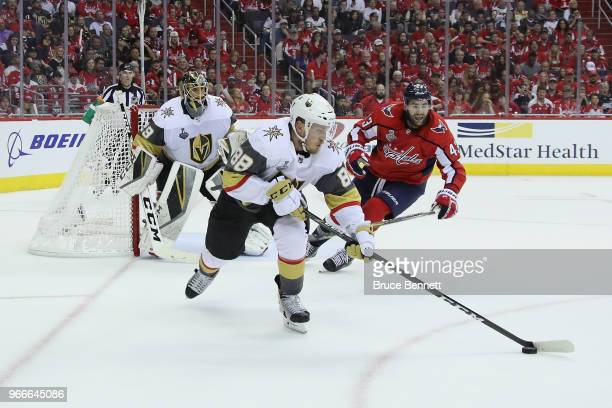 Nate Schmidt of the Vegas Golden Knights skates against the Washington Capitals in Game Three of the 2018 NHL Stanley Cup Final at Capital One Arena...