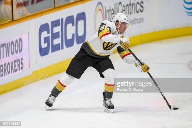 Nate Schmidt of the Vegas Golden Knights skates against the Nashville Predators during an NHL game at Bridgestone Arena on January 16 2018 in...