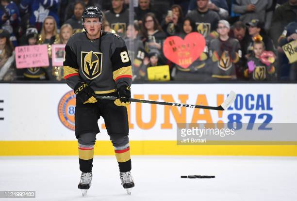 Nate Schmidt of the Vegas Golden Knights skates in warmups prior to the game against against the Toronto Maple Leafs at TMobile Arena on February 14...