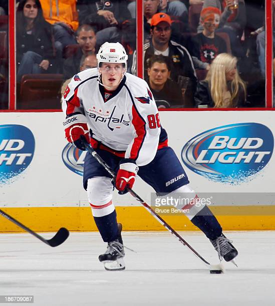Nate Schmidt of the Washington Capitals skates against the Philadelphia Flyers at the Wells Fargo Center on November 1 2013 in Philadelphia...
