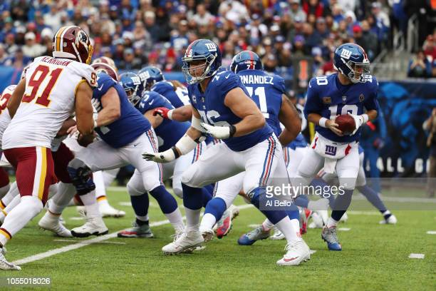 Nate Solder of the New York Giants in action against the Washington Redskins during their game at MetLife Stadium on October 28 2018 in East...
