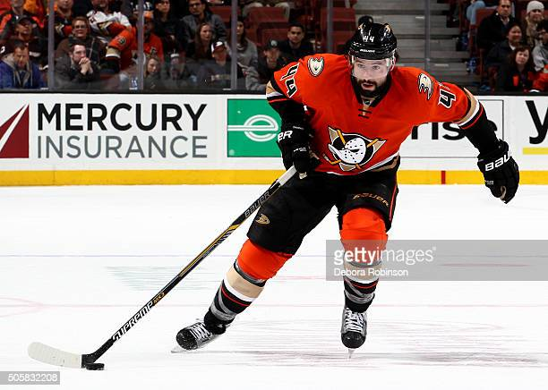 Nate Thompson of the Anaheim Ducks handles the puck during the game against the Toronto Maple Leafs on January 6 2016 at Honda Center in Anaheim...