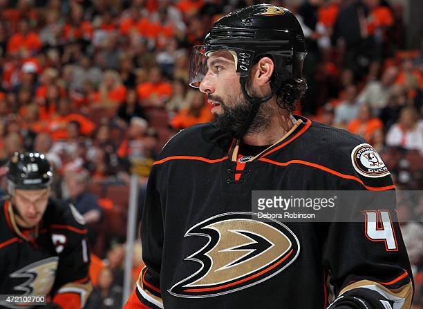 Nate Thompson of the Anaheim Ducks looks on during the second period against the Calgary Flames in Game Two of the Western Conference Semifinals...