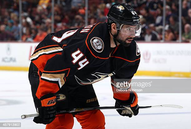 Nate Thompson of the Anaheim Ducks looks on playing in his 400th game against the San Jose Sharks on October 26 2014 at Honda Center in Anaheim...