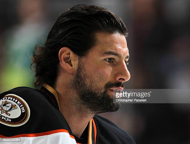 Nate Thompson of the Anaheim Ducks looks on prior to the game against the New Jersey Devils at the Prudential Center on March 29 2015 in Newark New...