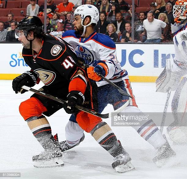 Nate Thompson of the Anaheim Ducks skates against Andrej Sekera of the Edmonton Oilers on February 26 2016 at Honda Center in Anaheim California