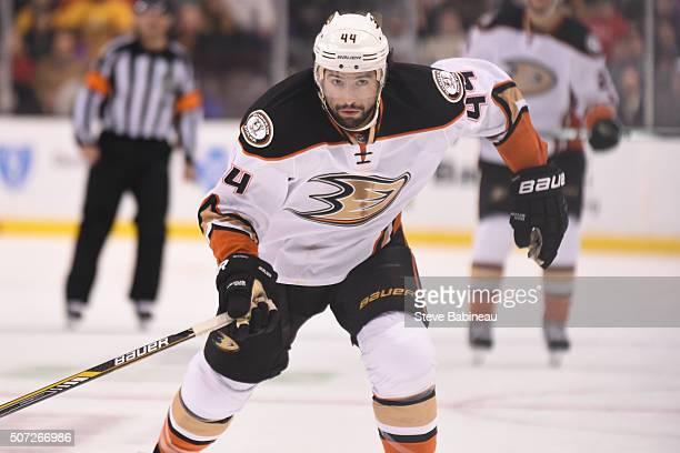 Nate Thompson of the Anaheim Ducks skates against the Boston Bruins at the TD Garden on January 26 2016 in Boston Massachusetts