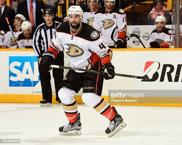 Nate Thompson of the Anaheim Ducks skates against the Nashville Predators during the second period in Game Six of the Western Conference First Round...