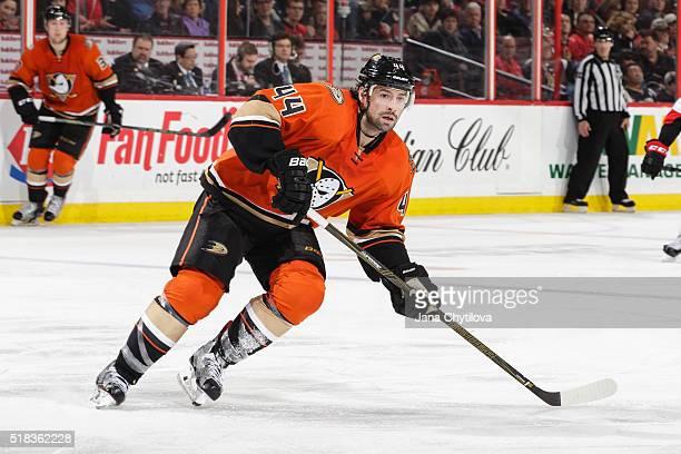 Nate Thompson of the Anaheim Ducks skates against the Ottawa Senators at Canadian Tire Centre on March 26 2016 in Ottawa Ontario Canada