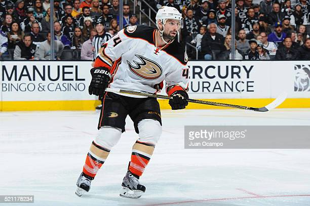Nate Thompson of the Anaheim Ducks skates during the game against the Los Angeles Kings on April 7 2016 at Staples Center in Los Angeles California