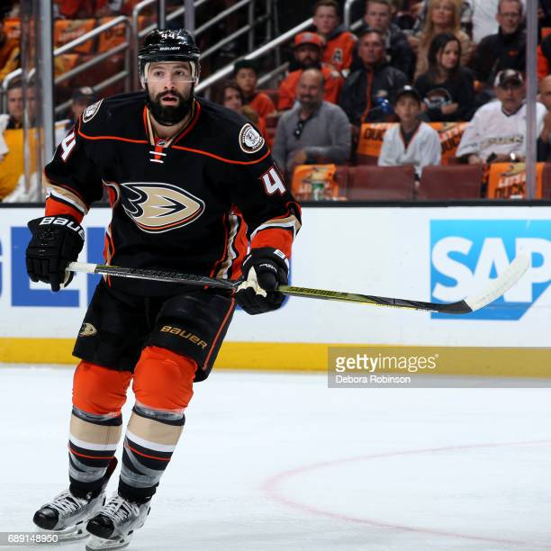 Nate Thompson of the Anaheim Ducks skates during the game against the Nashville Predators in Game Five of the Western Conference Final during the...