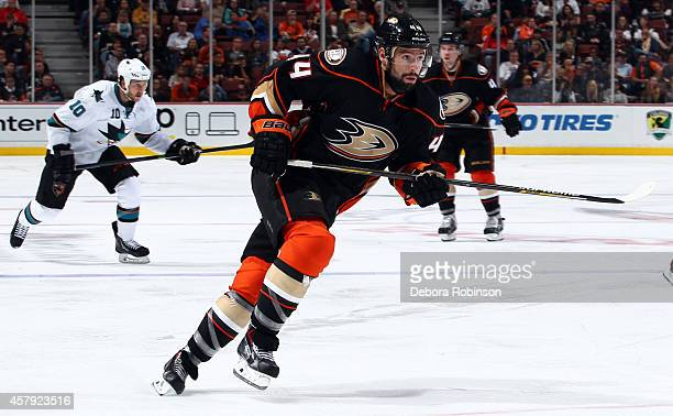 Nate Thompson of the Anaheim Ducks skates up ice playing in his 400th game against the San Jose Sharks on October 26 2014 at Honda Center in Anaheim...