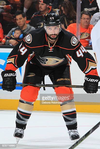 Nate Thompson of the Anaheim Ducks waits to resume play in Game Five of the Western Conference First Round against the Nashville Predators during the...