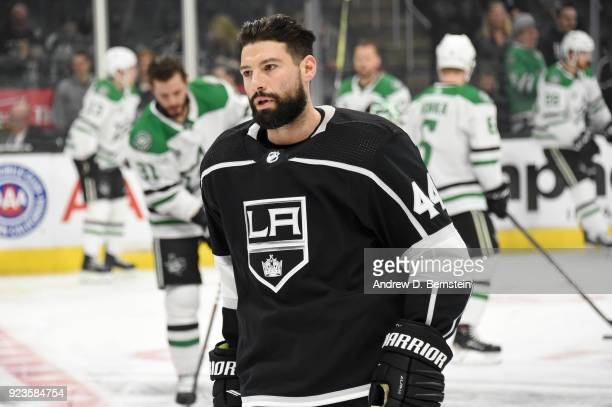 Nate Thompson of the Los Angeles Kings looks on before a game against the Dallas Stars at STAPLES Center on February 22 2018 in Los Angeles California