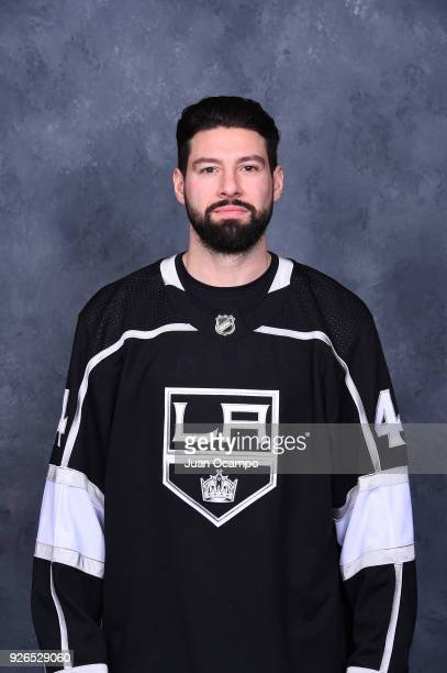 Nate Thompson of the Los Angeles Kings poses for a headshot before a game against the Columbus Blue Jackets at STAPLES Center on March 1 2018 in Los...