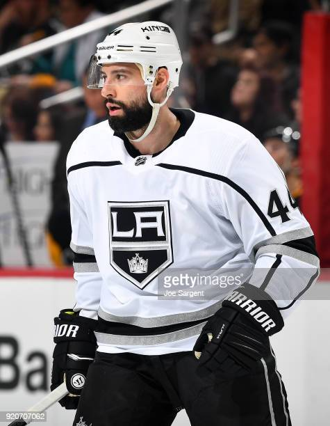 Nate Thompson of the Los Angeles Kings skates against the Pittsburgh Penguins at PPG Paints Arena on February 15 2018 in Pittsburgh Pennsylvania