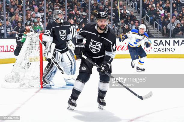 Nate Thompson of the Los Angeles Kings skates on ice during a game against the St Louis Blues at STAPLES Center on March 10 2018 in Los Angeles...
