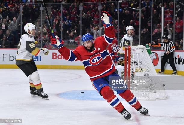 Nate Thompson of the Montreal Canadiens celebrates a goal against the Vegas Golden Knights in the NHL game at the Bell Centre on January 18 2020 in...