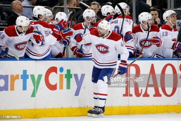 Nate Thompson of the Montreal Canadiens celebrates after scoring the game winning goal late in the third period against the New York Rangers at...