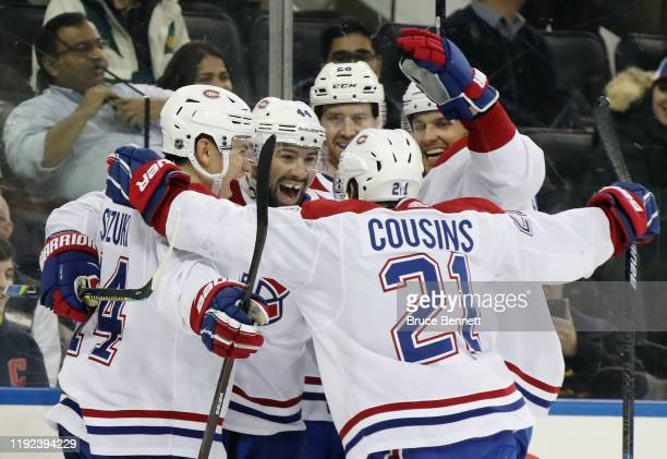 Nate Thompson of the Montreal Canadiens celebrates his game winning goal at 1853 of the third period against the New York Rangers at Madison Square...