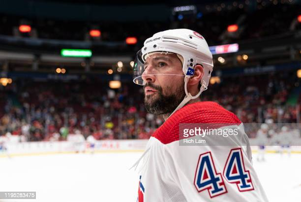 Nate Thompson of the Montreal Canadiens during a break in NHL action against the Vancouver Canucks at Rogers Arena on December 17 2019 in Vancouver...