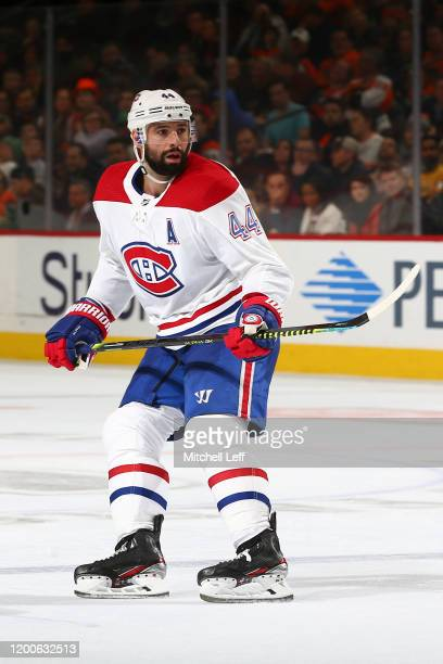 Nate Thompson of the Montreal Canadiens in action against the Philadelphia Flyers at the Wells Fargo Center on January 16 2020 in Philadelphia...