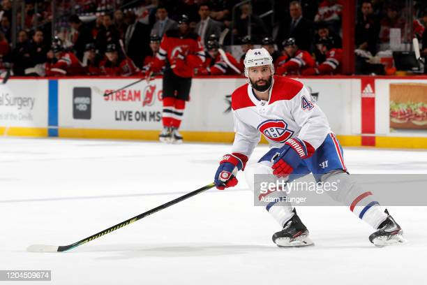 Nate Thompson of the Montreal Canadiens in action against the New Jersey Devils on February 4 2020 at the Prudential Center in Newark New Jersey