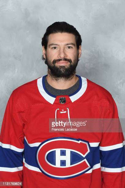 Nate Thompson of the Montreal Canadiens poses for his official headshot for the 20182019 season prior the NHL game against the Columbus Blue Jackets...