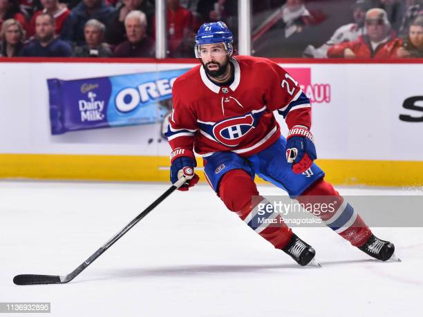 Nate Thompson of the Montreal Canadiens skates against the Chicago Blackhawks during the NHL game at the Bell Centre on March 16 2019 in Montreal...