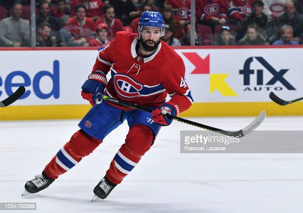 Nate Thompson of the Montreal Canadiens skates against the Columbus Blue Jackets in the NHL game at the Bell Centre on February 2 2020 in Montreal...