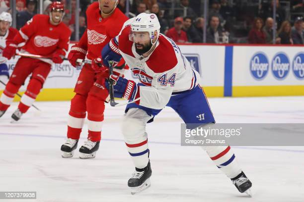 Nate Thompson of the Montreal Canadiens skates against the Detroit Red Wings at Little Caesars Arena on February 18 2020 in Detroit Michigan